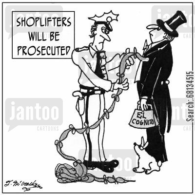 handkerchief cartoon humor: Shoplifters Will Be Prosecuted