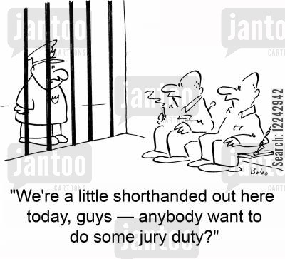 short staffed cartoon humor: 'We're a little shorthanded out here today, guys -- anybody want to do some jury duty?'