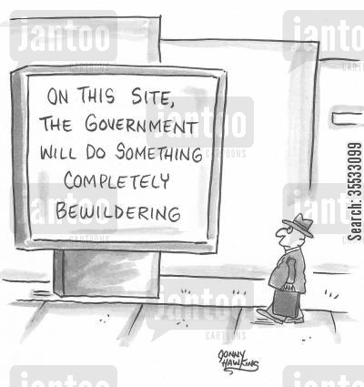 building projects cartoon humor: 'On this site, the government will do something completely bewildering.'