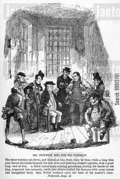 fleet prison cartoon humor: Mr. Pickwick sits for his portrait