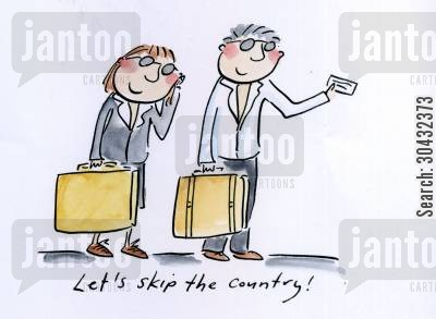 skipping the country cartoon humor: Let's skip the country!