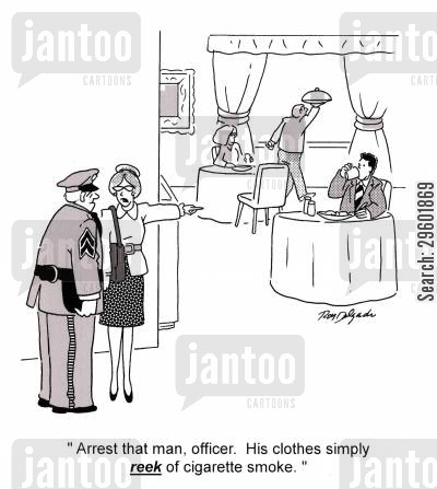 public space cartoon humor: 'Arrest that man, officer. His clothes simply reek of cigarette smoke.'