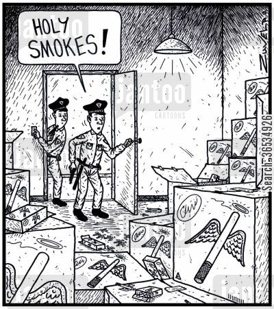 shipment cartoon humor: Policeman: 'Holy Smokes!'