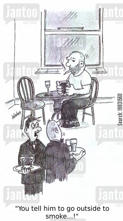 breaking the law cartoon humor: 'You tell him to go outside to smoke!'