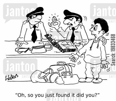 smuggling cartoon humor: 'Oh, so you just found it did you?'