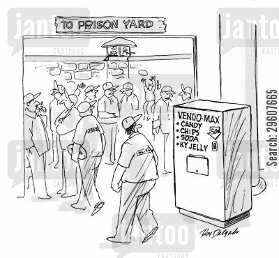 snacks cartoon humor: Vending machine in a prison.