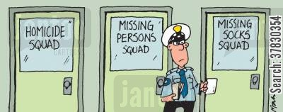 fashion police cartoon humor: Missing socks squad.