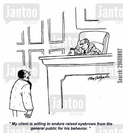 judging cartoon humor: 'My client is willing to endure raised eyebrows from the general public for his behaviour.'