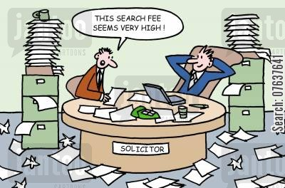 legal cost cartoon humor: 'This search fee seems very high.'