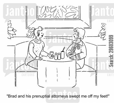 prenuptial cartoon humor: 'Brad and his prenuptial attorneys swept me off my feet!'