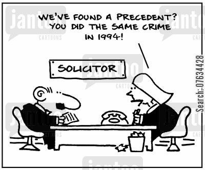 prison visit cartoon humor: We've found a precedent - you did the same crime in 1994!