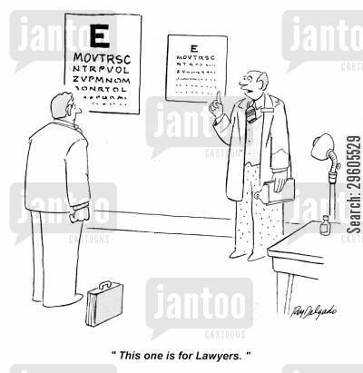 blind cartoon humor: 'This one is for Lawyers.'