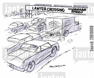 running over cartoon humor: Lawyer Crossing.