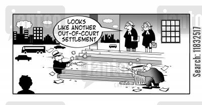 settle out of court cartoon humor: Out of court settlement.