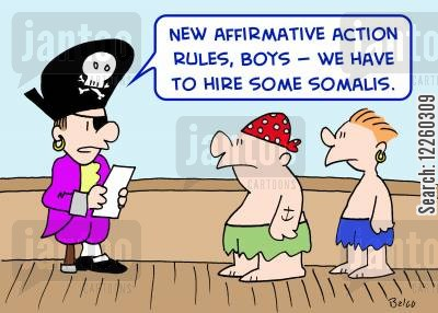 new blood cartoon humor: 'New affirmative action rules, boys -- we have to hire some Somalis.'