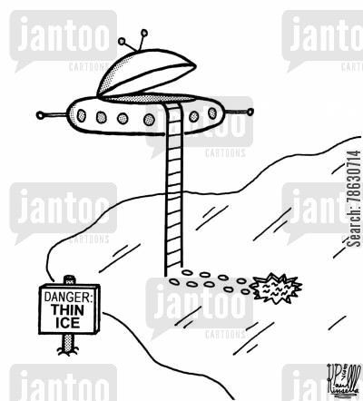 flying saucers cartoon humor: Danger: Thin Ice (alien space ship over frozen pond)