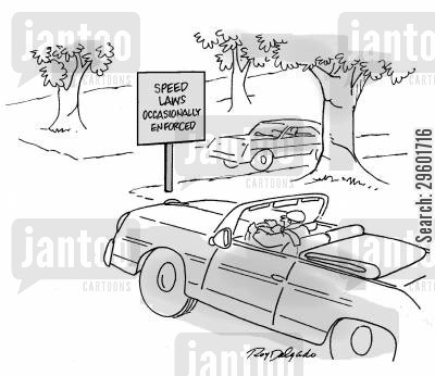 speed limits cartoon humor: Speed laws occasionally enforced.