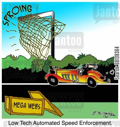 highway patrolmen cartoon humor: Low Tech Automated Speed Enforcement.
