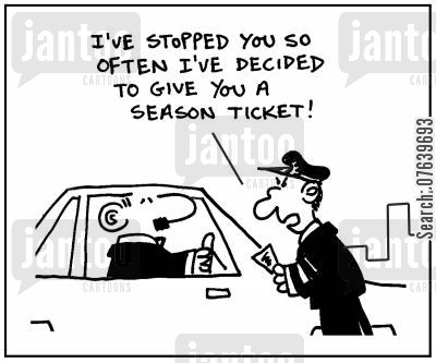 traffic cop cartoon humor: 'I've stopped you so often I've decided to give you a season ticket.'