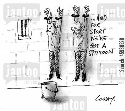 spits cartoon humor: And for sport we've got a spittoon.