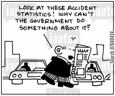 car collision cartoon humor: 'Look at these accident statistics. What can't the government do something about it?'