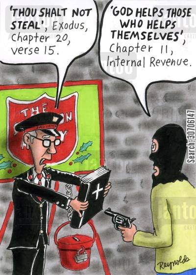 salvation army cartoon humor: Robber counters victim's bible quotation with his own.