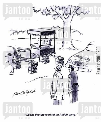 carts cartoon humor: 'Looks like the work of an Amish gang.'