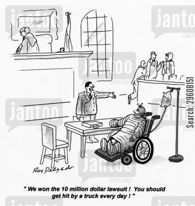 compensate cartoon humor: 'We won the 10 million dollar lawsuit! You should get hit by a truck every day!'