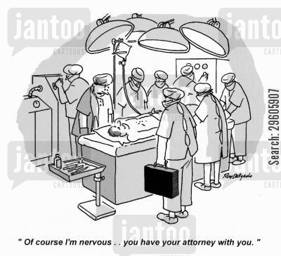 operated cartoon humor: 'Of course I'm nervous.. you have your attorney with you.'