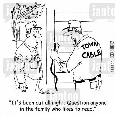 cirminal cartoon humor: 'It's been cut all right. Question anyone in the family who likes to read.'
