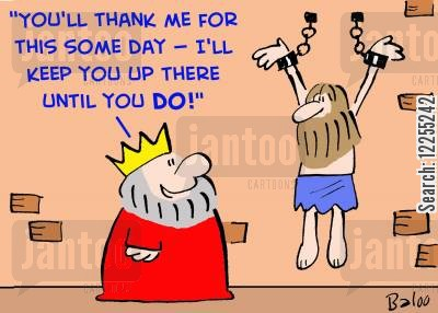 chain cartoon humor: 'You'll thank me for this some day -- I'll keep you up there until you DO!'