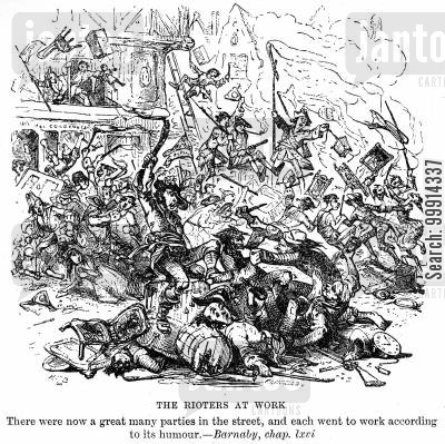 the gordon riots cartoon humor: The rioters at work