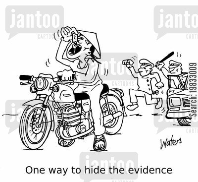 evidence cartoon humor: One way to hide the evidence...