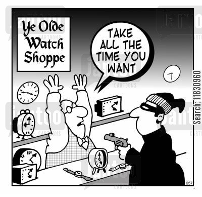 time keeper cartoon humor: Take all the time you want.