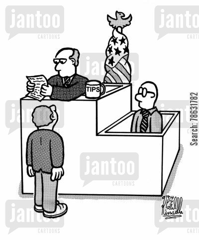 testimonies cartoon humor: Judge had 'Tips' pot.