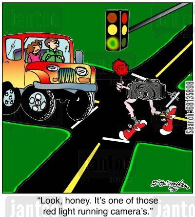 stop light cartoon humor: 'Look, honey. It's one of those red light running cameras.'