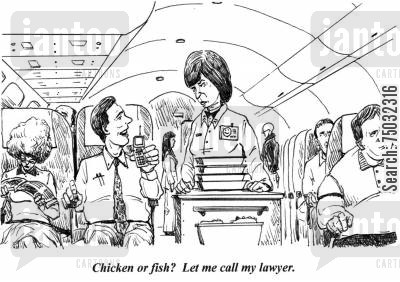 edible cartoon humor: 'Chicken or fish? Let me call my lawyer.'