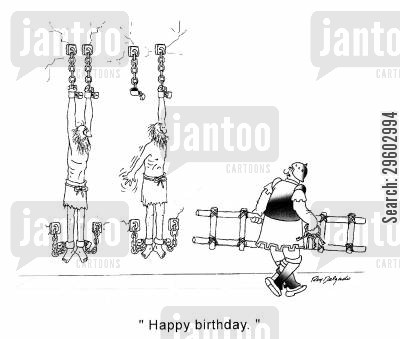 cell mate cartoon humor: 'Happy birthday.'