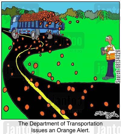 department of transportation cartoon humor: The Department of Transportation Issues an Orange Alert.