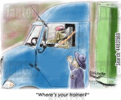 truckers cartoon humor: D.O.T asks a dog driver:'Where's your trainer?'