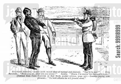 victorian officers cartoon humor: Military ardour.