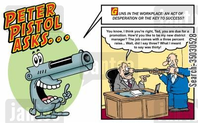 school shootings cartoon humor: Guns in the workplace: an act of desperation or the key to success?