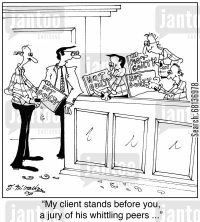 defense attorney cartoon humor: 'My client stands before you, a jury of his whittling peers ...'