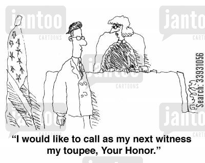 toupees cartoon humor: 'I would like to call as my next witness my toupee, Your Honor,'