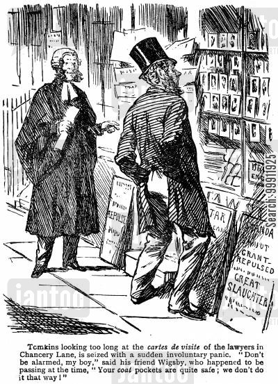 cost cartoon humor: Man looking at the cartes de visite of the lawyers in chancery lane
