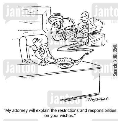 agreement cartoon humor: 'My attorney will explain the restrictions and responsibilities on your wishes.'