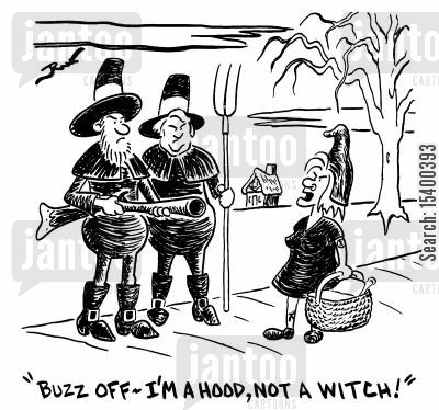 punk cartoon humor: Buzz off I'm a hood - not a witch.