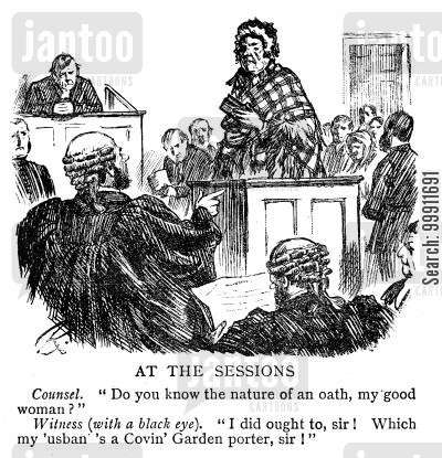 witness box cartoon humor: Working class woman with a black eye in the witness box