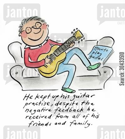 middle cartoon humor: He kept up his guitar practise...