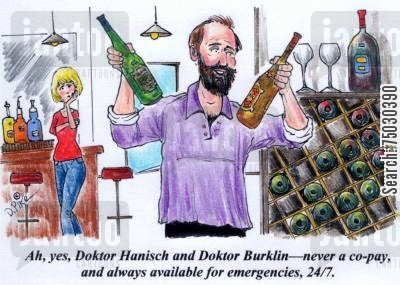 health professionals cartoon humor: 'Ah, yes, Doktor Hanisch and Doktor Burklin--never a co-pay, and always available for emergencies, 247.'